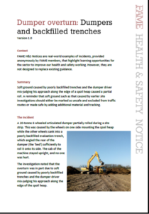 FAME Health & Safety Notice - Dumpers and backfilled trenches